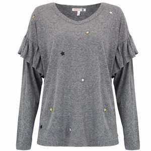 Sundry Starry Stitch Knit Ruffle Tee Anthropologie